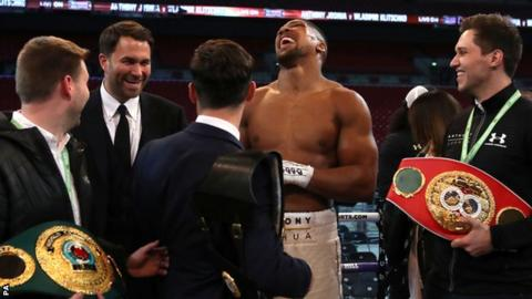 Anthony Joshua laughs after beating Wladimir Klitschko