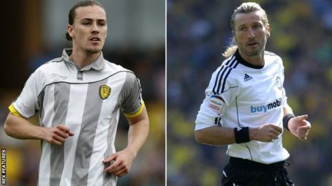 Jackson Irvine for Burton (left) and Robbie Savage in action for Derby County in 2011