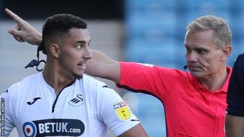Courtney Baker-Richardson is sent off at Millwall