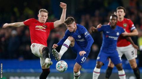 Chelsea's Billy Gilmour came up against compatriot Scott McTominay against Manchester United