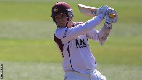 Rob Newton plays a shot for Northamptonshire