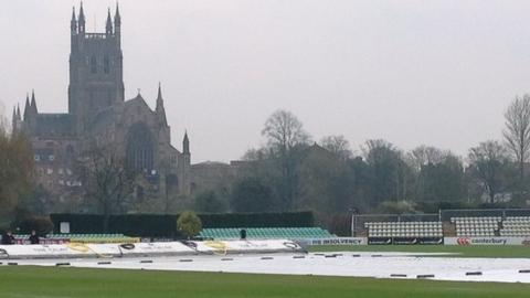 Covers on at New Road on the opening day of the 2016 season
