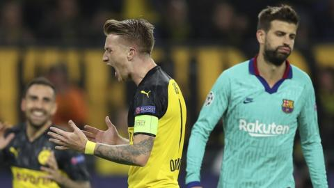 Marco Reus after missing a penalty for Dortmund against Barcelona