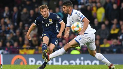 Ryan Fraser playing for Scotland against Cyprus