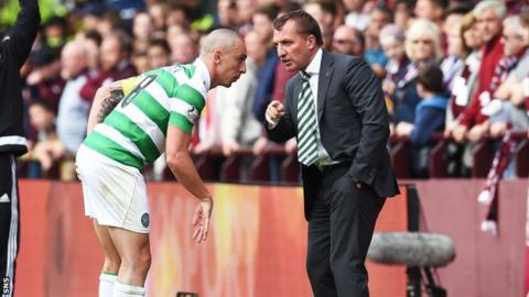 Brendan Rodgers and Scott Brown on the touchline as Celtic face Hearts