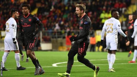 Nacho Monreal celebrates his opener against Ostersunds FK