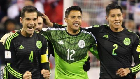 Mexico captain Rafael marquez (left) celebrates with team-mates after his side's win