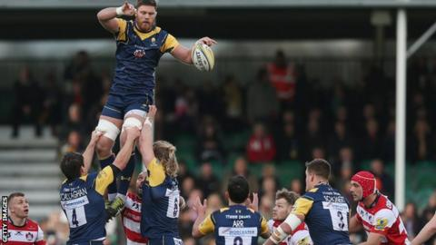 Darren Barry of Worcester goes up in a line-out