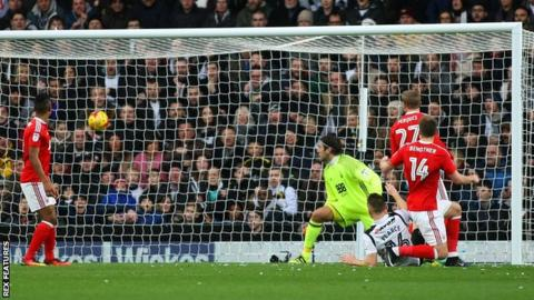 Nicklas Bendtner scores an own goal in the 3-0 defeat against fierce rivals Derby County