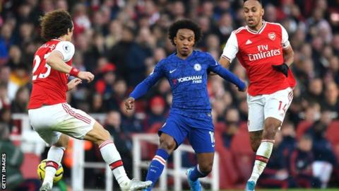 Willian in action for Chelsea against Arsenal