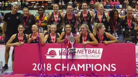 Wasps Netball celebrate winning the 2018 Netball Superleague Grand Final