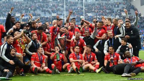 Owen Farrell Saracens celebrate European Cup