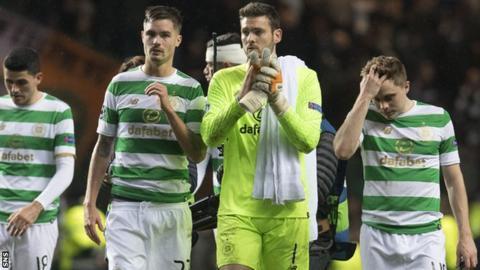 Celtic defender Mikael Lustig, goalkeeper Craig Gordon and winger James Forrest