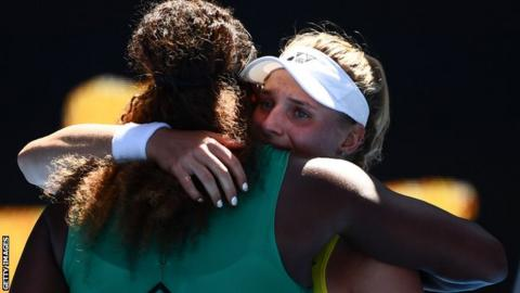 Serena Williams and Dayana Yastremska