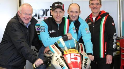 NW 200 event director Mervyn Whyte, Ben Wilson, EHA Racing's Edward Allingham and crew chief Ian Newton