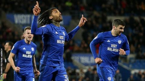 Cardiff City's Armand Traore celebrates his first goal for the club