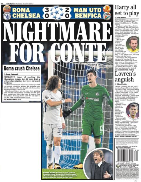 Daily Express' back page on Wednesday
