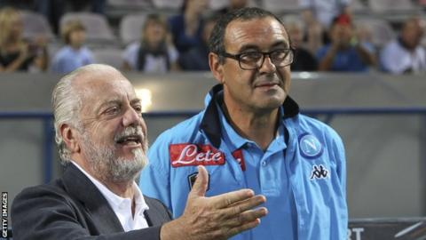 Chelsea manager Maurizio Sarri (right) with Napoli chairman Aurelio De Laurentiis
