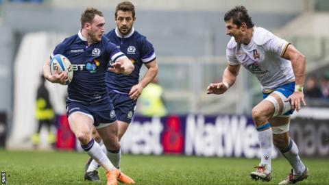 Stuart Hogg playing for Scotland against Italy