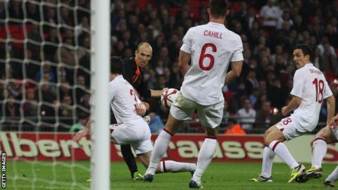 Arjen Robben scores for Netherlands