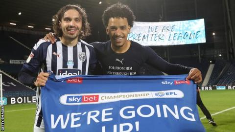sports Filip Krovinovic and Matheus Pereira of West Bromwich Albion celebrate promotion to the Premier League