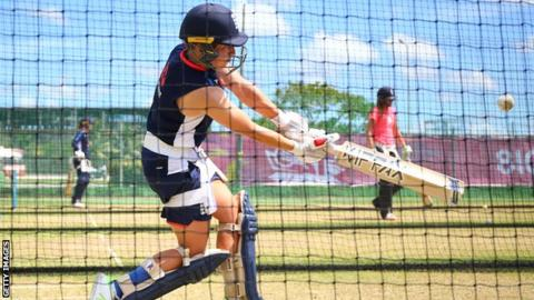 England's Danielle Hazell hits out in the nets