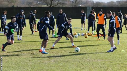 Bolton players training