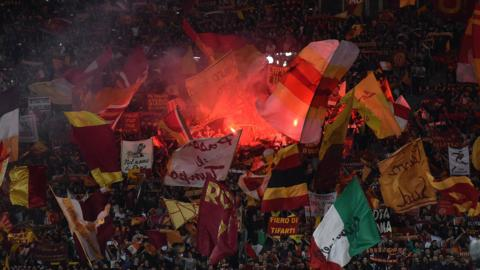Roma fans during their Champions League tie with Liverpool