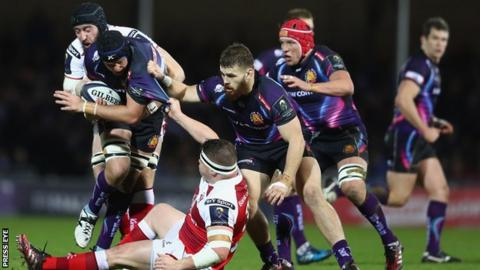 Exeter's Mitch Lees in action against Ulster forwards Kieran Treadwell and Ross Kane