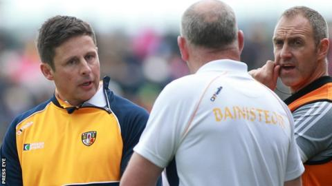 Antrim's management team of Gearoid Adams (left), Frank Fitzsimons and Joe Quinn (right) are in their second year in charge