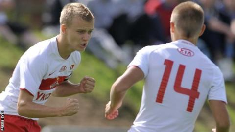 Dmitriy Khoklov celebrates scoring for Spartak Moscow in the 2010 tourament