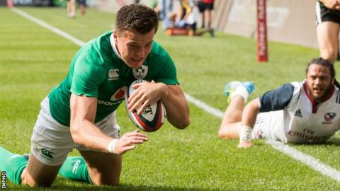 Ireland winger Jacob Stockdale scored a try on his international debut