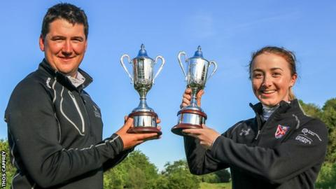 Colm Campbell and Jessica Ross after winning the Ulster Stroke Play titles at Galgorm Spa & Golf Resort