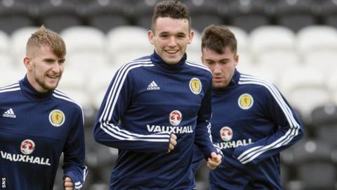 John McGinn in training with Scotland Under-21s