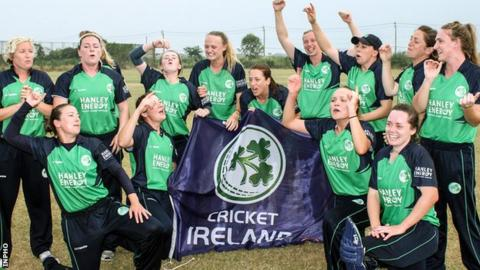 Ireland celebrate winning the Women's World T20 Qualifier tournament in Bangkok last year
