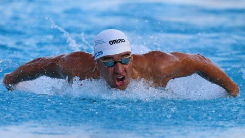 ROME, ITALY - JUNE 22: Chad Guy Bertran Le Clos of South Africa Republic competes in the men's 200 m Butterfly Final A during the 56th 'Sette Colli' international swimming trophy at Foro Italico on June 22, 2019 in Rome, Italy. (Photo by Paolo Bruno/Getty Images)