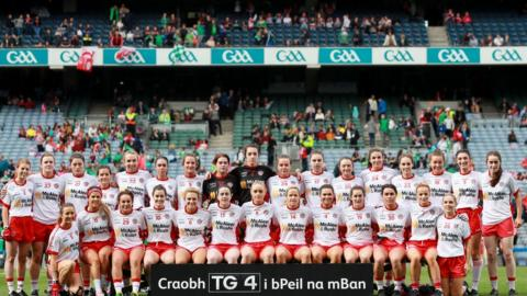 Tyrone's panel pictured before they took on Meath in the final of the All-Ireland Intermediate Football Championship