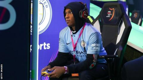Ryan Pessoa of Manchester City eSports competes during the Fifa eClub World Cup in London in 2019