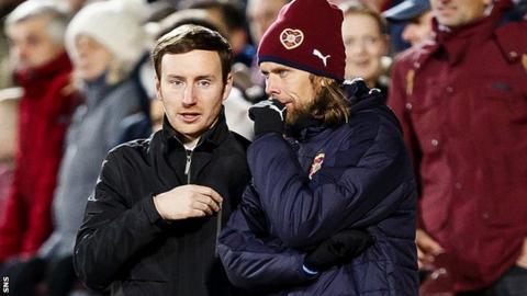 Austin McPhee (right) talks to Hearts head coach Ian Cathro during their 4-0 win over Kilmarnock
