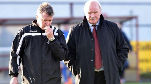 Portadown assistant manager Kieran Harding with manager Ronnie McFall whose side were booed by a section of home supporters following the home defeat by Ballinamallard