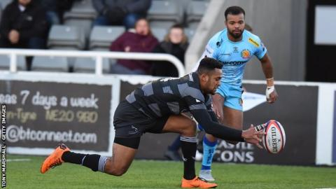 Newcastle's former England Under-20s winger Zach Kibirige ran in a hat-trick against Exeter at Kingston Park