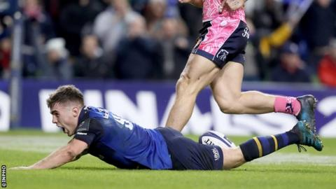 Leinster scrum-half Luke McGrath dives over for the decisive try of the game