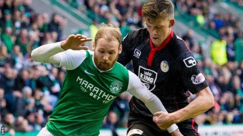 Hibs' Martin Boyle shields the ball from St Mirren's Jack Baird