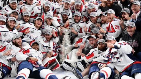 Washington Capitals celebrate winning the Stanley Cup