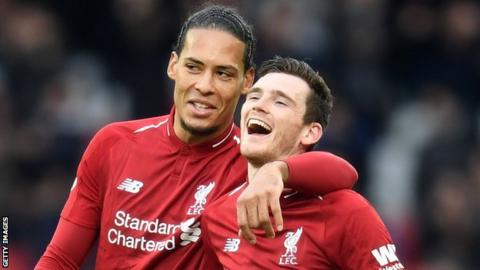 Liverpool defender Virgil van Dijk (left) and Andrew Robertson