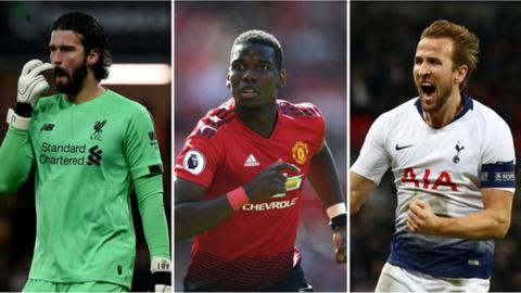 Alisson, Paul Pogba and Harry Kane