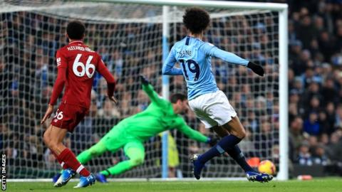 Leroy Sane scores Manchester City's winner against Liverpool
