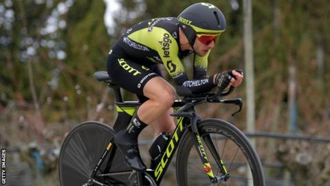 Simon Yates riding his time trial bike during his stage five victory at Paris-Nice