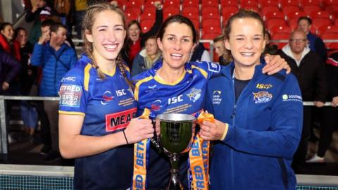 Leeds' Caitlin Beevers, Courtney Hill and Lois Forsell