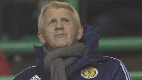 Scotland manager Gordon Strachan takes in Hibs' Championship match against Dundee United